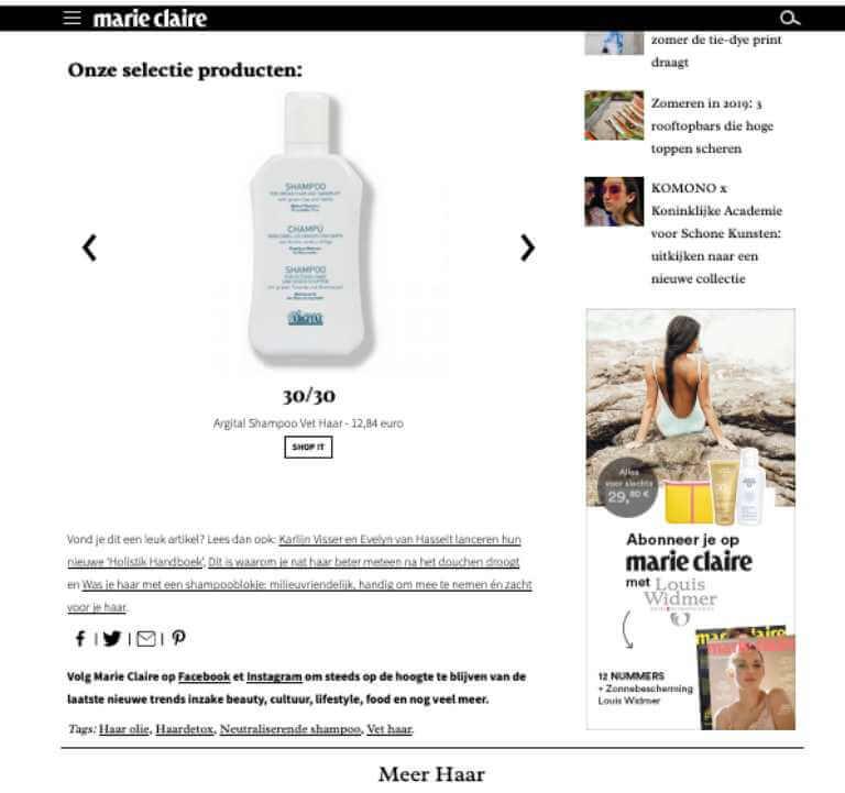 Argital Shampoo Selectie Marie Claire